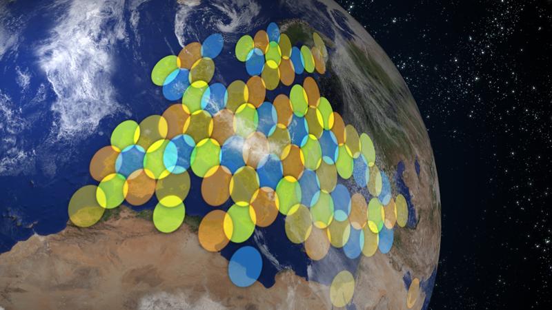 Ka-Sat devrait desservir en Internet haut-débit l'Europe entière et le bassin méditérranéen. Crédits : Eutelsat.