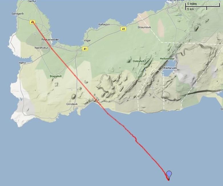 Trajectoire de vol 2D du 2e ballon-sonde lâché en Islande le 20 juillet. Crédits : Google map.