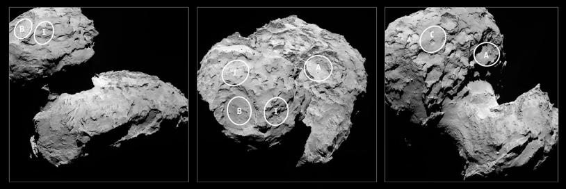 Localisation des 5 sites d'atterrissage retenus pour Philae. Crédits : ESA/Rosetta/MPS for OSIRIS Team MPS/UPD/LAM/IAA/SSO/INTA/UPM/DASP/IDA.