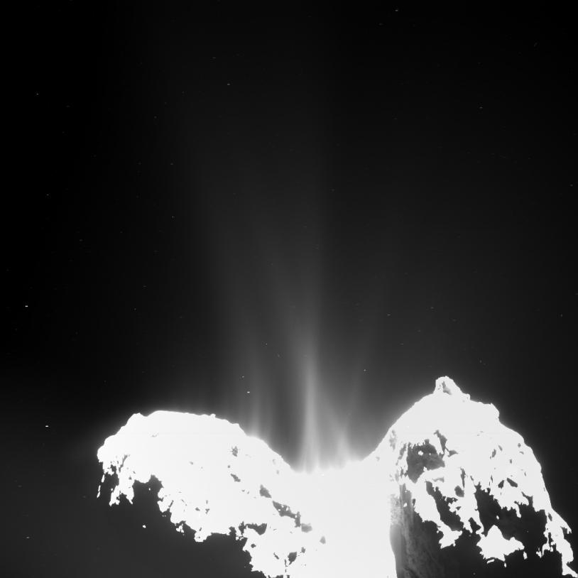 Image prise le 10 septembre 2014 avec la caméra OSIRIS pour montrer les jets de poussière qui émanent du noyau de 67P. Crédits : ESA/Rosetta/MPS for OSIRIS Team MPS/UPD/LAM/IAA/SSO/INTA/UPM/DASP/IDA.