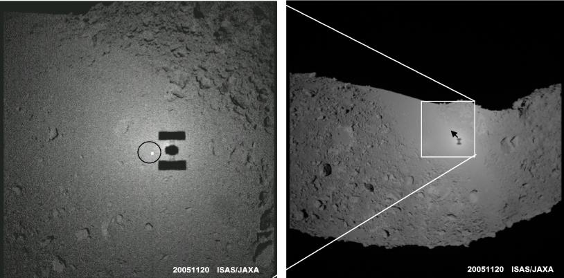 Le 20 novembre 2005, l'ombre de la sonde japonaise Hayabusa était bien visible sur l'astéroïde Itokawa. L'engin se situait à 32 m de la surface avec le Soleil derrière lui et l'effet d'opposition était spectaculaire. Crédits : ISAS/JAXA.